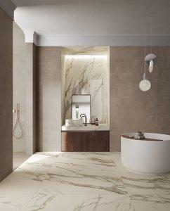 Effetto marmo, onice, cemento, legno. Del%20Conca_Ambienti%20Cersaie%202019_02%20Bagno_Definitivo - Ceramica del Conca