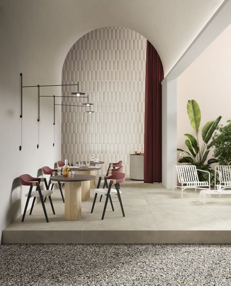 Small and large together Del%20Conca_Ambienti%20Cersaie%202019_04%20Ristorante_Definitivo - Ceramica del Conca